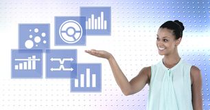 Woman interacting with business chart statistic icons. Digital composite of Woman interacting with business chart statistic icons Stock Image
