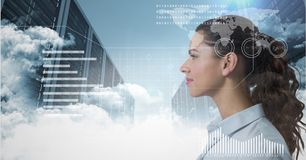 Woman looking forward behind an interface in cloud storage area. Digital composite of Woman looking forward behind an interface in cloud storage area stock illustration