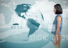 Woman looking at globe with digits surrounding her. Digital composite of Woman looking at globe with digits surrounding her Royalty Free Stock Photo