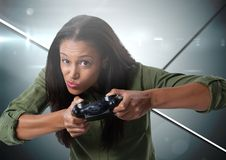 woman playing with computer game controller Stock Photography