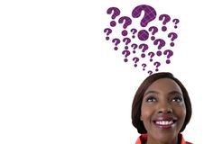 Woman with purple thatched question marks emerging from head. Digital composite of Woman with purple thatched question marks emerging from head Royalty Free Stock Images