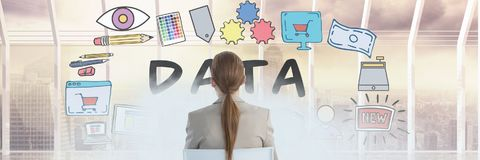 Woman sitting looking at data doodle