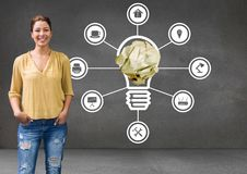Woman standing next to light bulb with crumpled paper ball and connections stock photos