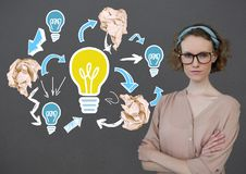 Woman standing next to light bulb with crumpled paper balls in front of blackboard. Digital composite of Woman standing next to light bulb with crumpled paper royalty free stock photography