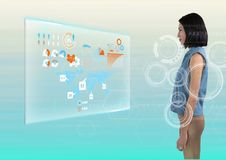 Woman staring directly at interface. Digital composite of Woman staring directly at interface Royalty Free Stock Photo