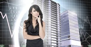 Woman thinking and Buildings with financial economic background. Digital composite of Woman thinking and Buildings with financial economic background royalty free stock photography