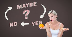 Woman thinking deciding about healthy food or unhealthy food choice Yes No Maybe text with arrows gr. Digital composite of Woman thinking deciding about healthy Royalty Free Stock Image