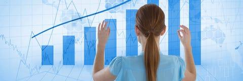 Woman touches graph interface. Digital composite of Woman touches graph interface Stock Photography