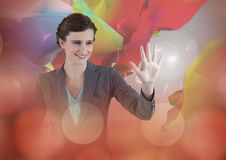 Woman touching and interacting with transition effect Royalty Free Stock Images