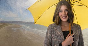 Woman with umbrella over beach. Digital composite of Woman with umbrella over beach Stock Photography