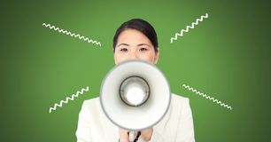 Woman using megaphone with illustrations. Digital composite of woman using megaphone with illustrations Royalty Free Stock Photography