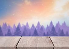 Wooden floor with Winter theme background. Digital composite of Wooden floor with Winter theme background Stock Photos