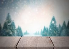 Wooden floor with Winter theme background. Digital composite of Wooden floor with Winter theme background Royalty Free Stock Photography