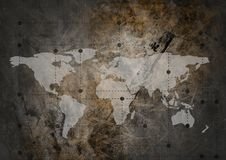 World map with connectors on grunge background. Digital composite of World map with connectors on grunge background Stock Photo