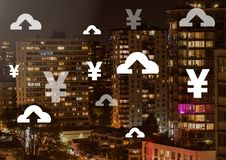 Yen and upload icons over city. Digital composite of Yen and upload icons over city Royalty Free Stock Photo