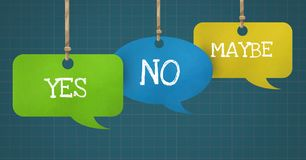 Yes No Maybe text on hanging paper speech bubbles. Digital composite of Yes No Maybe text on hanging paper speech bubbles Stock Photos