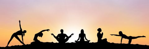 Yoga group silhouette at sunset. Digital composite of yoga group silhouette at sunset Royalty Free Stock Images