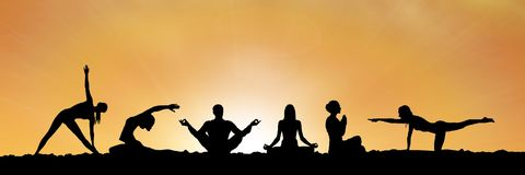 Yoga group silhouette at sunset. Digital composite of yoga group silhouette at sunset Royalty Free Stock Photography