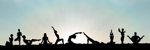 Yoga group silhouette at sunset. Digital composite of yoga group silhouette at sunset Stock Photos