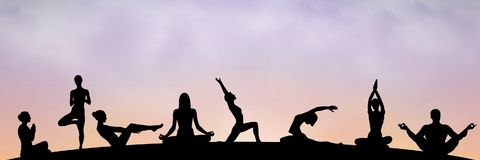 Yoga group silhouette at sunset. Digital composite of yoga group silhouette at sunset Royalty Free Stock Photo