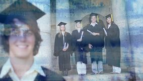 Male wearing gown and cap with stock numbers. Digital composite of young Caucasian male that just graduated wearing cap and gown with group of friends in gown stock footage