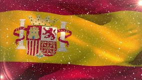 Flag of Spain and snowflakes. Digital composition of waving flag of Spain on the background with snowflakes stock video