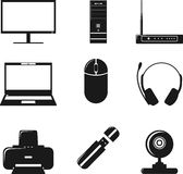Digital computer equipment icons set Royalty Free Stock Images