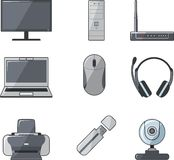 Digital computer equipment set. Set of digital devices and tools in flat style