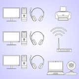 Digital computer equipment set. Set of different silhouettes digital devices and tools linear vector icons. Royalty Free Stock Image