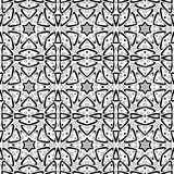 Graceful seamless pattern with a curves and six-pointed stars. Digital computer graphic -creative seamless pattern with a curves and six-pointed stars in a black Royalty Free Illustration