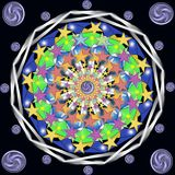 Decorative abstract Mandala with a five-pointed stars. Digital computer graphic - decorative abstract Mandala with a five-pointed stars for design and meditation vector illustration