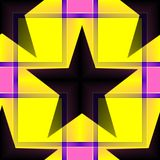 Seamless geometric pattern with a five-pointed stars in a yellow translucent colors. Digital computer graphic - geometric pattern with a five-pointed stars in a stock illustration
