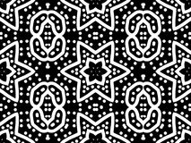 Pattern - ornament with a six-pointed stars. Digital computer graphic - seamless decorative pattern - ornament with a six-pointed stars and circles in a black Stock Illustration