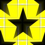 Seamless pattern with a black five-pointed stars on a yellow background. Digital computer graphic - seamless pattern with a black five-pointed stars on a yellow vector illustration