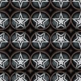 Seamless pattern with a five-pointed stars and circles in a dark-grey colors. Digital computer graphic - seamless pattern with a five-pointed stars in a dark stock illustration
