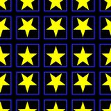 Seamless pattern with a yellow five-pointed stars on a black background. Digital computer graphic - seamless pattern with a yellow five-pointed stars on a black Vector Illustration
