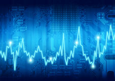 Digital  computer heartbeat. Digital graphic computer circuit board heartbeat pulse rate Stock Image