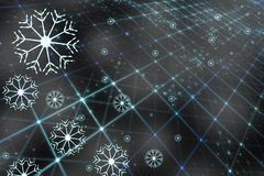 Digital computer network with artistic snowflakes. Artisitic blue colored digital computer network with artistic snowflakes and connected lines illustration Royalty Free Stock Image
