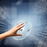 Digital concept. Woman hand using futuristic digital interface Royalty Free Stock Image