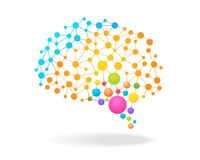 Digital concept of colorful brain mapping with dots, circles and lines. Vector illustration. Digital concept of colorful brain mapping with dots, circles and Royalty Free Stock Images