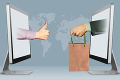 Online concept, two hands from laptops. thumbs up, like and hand with shopping bag. 3d illustration stock photo