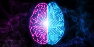 Human brain circuit. Digital concept of human brain with circuit board texture. 3D render Royalty Free Stock Images