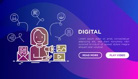 Digital concept with thin line icons vector illustration