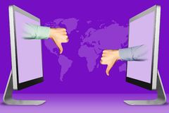 Digital concept, two hands from displays. thumbs down, dislike and thumbs down, dislike. 3d illustration. Digital concept, hands from computers. thumbs down vector illustration