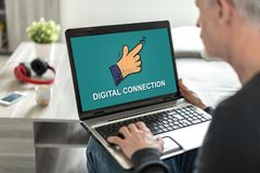 Digital connection concept on a laptop screen. Laptop screen displaying a digital connection concept stock photography