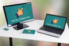 Digital connection concept on different devices. Digital connection concept shown on different information technology devices stock image