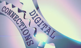 Digital Connections - Message on Mechanism of Metallic Gears. 3D Royalty Free Stock Photo