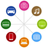 Digital connectivity. Multiple devices connected. It is a representation of the modern internet connectivity between multimedia devices, cars and finances Stock Image