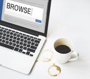Digital Content Sharing Connect Website Searchbar Concept. Closeup Computer Digital Content Sharing Connect Website Searchbar Stock Photo