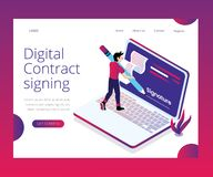 Digital Contract Signing Process Explained with Isometric Artwork Concept. Isometric Artwork Concept of Digital Contract Signing, Where a Person is signing a vector illustration